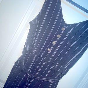 Time & Tru Black Stripe Sleeveless Romper-L 12-14